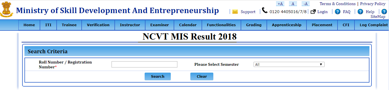 NCVT MIS Result 2018 Declared Name Wise