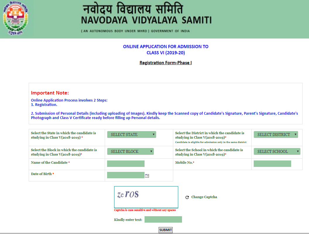 JNVST 2019 Application Form - Jawahar Navodaya Vidyalaya Pravesh Pariksha 2019-20