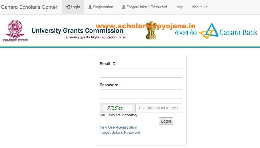 Canara Bank Scholarship Login