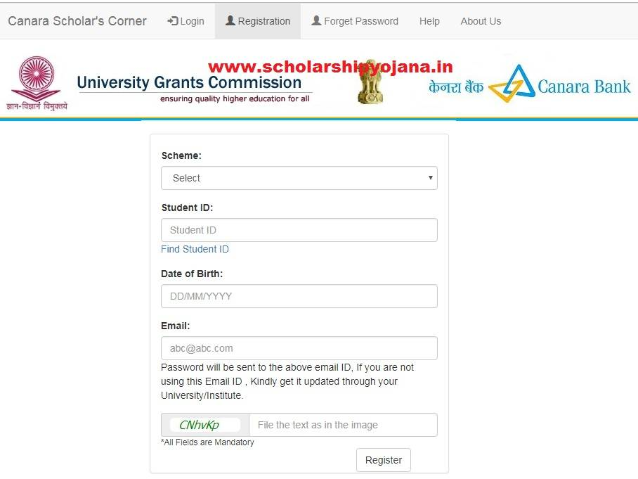 Canara Bank UGC Scholarship Portal Registration