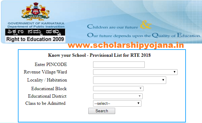 RTE Karnataka School List